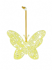 Filigree Butterfly Hanger - Yellow